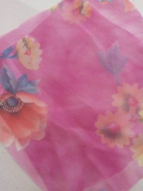 PINK W/BLUE FLOWERS